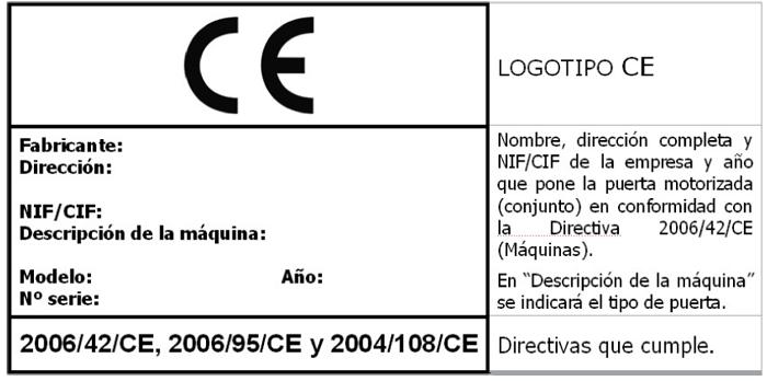 Diseño de la etiqueta de marcado CE